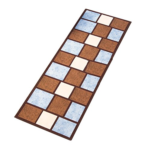 Collections Etc Carmine Blue/Brown Geometric Squares Accent Rug, 22