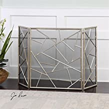 """51"""" Modern Silver Leaf Decorative Abstract Fireplace Screen"""