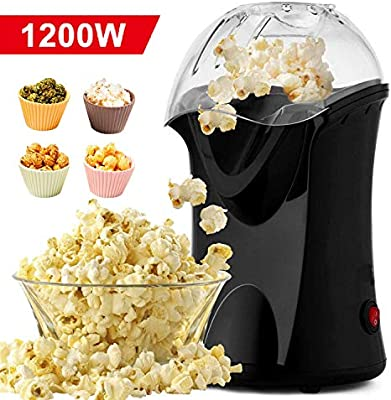 Homdox Máquina eléctrica de palomitas de maíz de aire caliente, 1200 W, palomitas de maíz con tapa extraíble para uso doméstico, no necesita aceite, ideal para niños (negro/1200 W): Amazon.es: Hogar