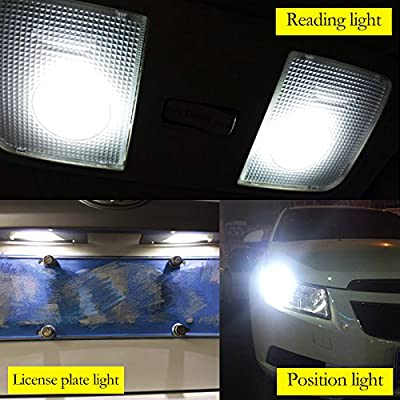 YaaGoo Bright Dome Lights LED bulbs Map License Trunk lamps,Canbus Error free,T10 168 194,white,2pcs,Compact mini-size: Automotive