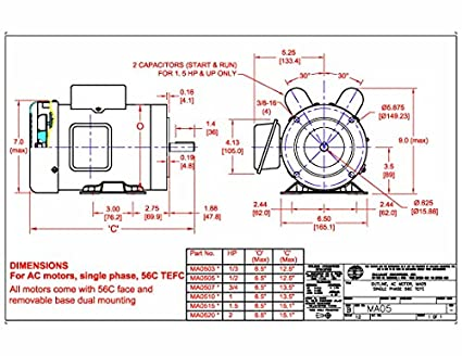 Hallmark Industries MA0515A AC Motor, 1-1/2 hp, 1725 RPM, 1PH/60 hz on