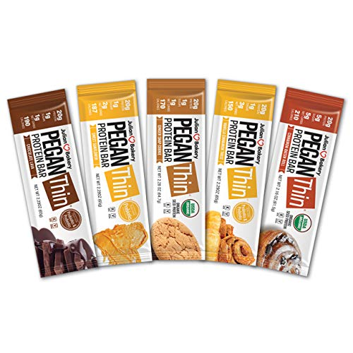 Pegan Thin® Protein Bar (Variety Box) 12 Bars (20g Organic Plant Protein) (2 Net Carbs 1g Sugar) VeganⓋ
