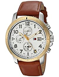 Tommy Hilfiger Men's 'Sport' Quartz Stainless Steel and Leather Casual Watch, Color:Brown (Model: 1791363)