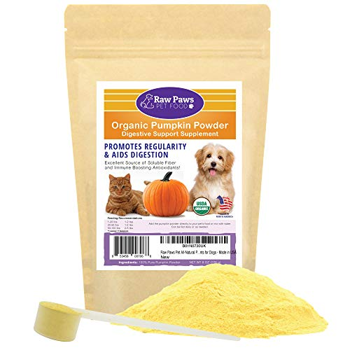 Raw Paws Pet Organic Pure Pumpkin for Dogs & Cats, Powder 8-oz - Fiber for Dogs - Cat & Dog Digestive Supplement for Healthy Stool, Regularity, Dog Gas Relief & Anti Scoot - Cat & Dog Diarrhea Relief (Best Dry Food For Cats With Ibd)