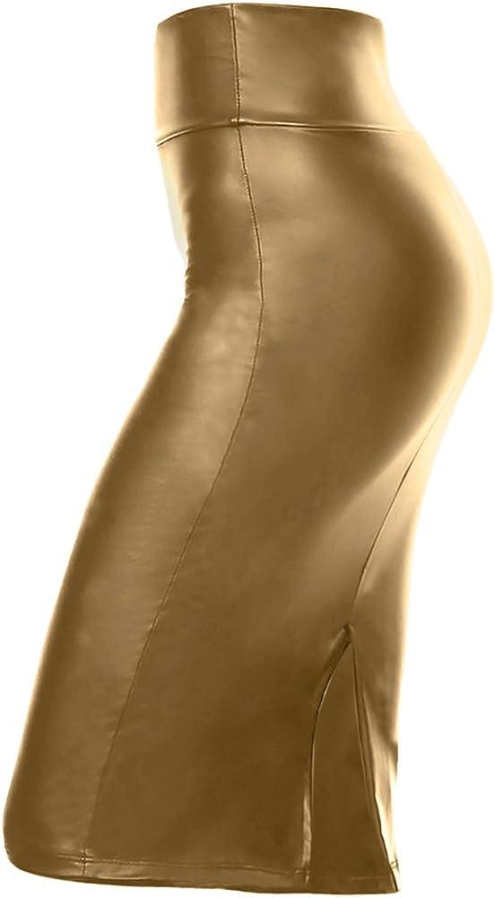 Simlu - Falda tubo de piel sintética por debajo de la rodilla ...