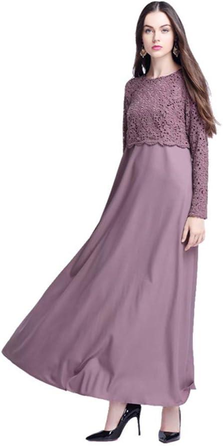 Likecrazy damska sukienka maxi koronkowa sukienka damska muzułmańska z długim rękawem kaftan elegancka prosta sukienka damska okrągły dekolt solidny kolor odświętna sukienka letnia suki