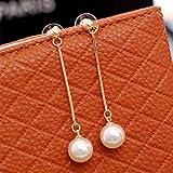 Bobury Women Girls Long Drop Pearl Dangle Earrings Cute Ear Wire Earrings Wedding Party Earrings