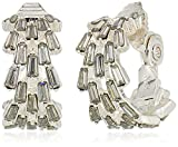 Anne Klein Silver Tone Baguette Hoop Clip-On Earrings