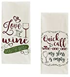Love Wine and Wine One One Funny Sayings Flour Sack Towel Set