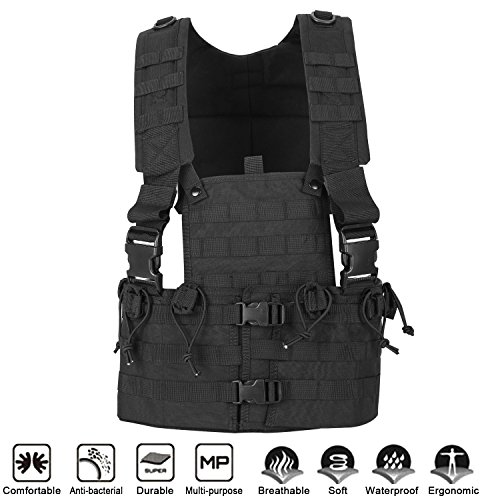 UNIQUEBELLA Tactical Chest Rig Military Vest Hydration Adjustable Molle Velcro Combat Training Assault Vest for Outdoor Airsoft Paintball Shooting Hunting for Men & Women-Black