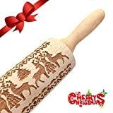 Christmas Embossed Rolling Pins,41cm 16inch Reindeer Wooden Roller Embossing Engraved Carved Cookies Pattern for Fondant Cake Dough Biscuit Baking Kitchen Tool