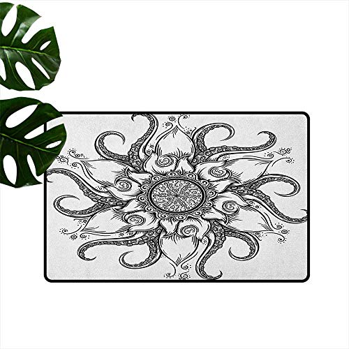 "RenteriaDecor Octopus,Anti-Slip Doormat Sea Mandala Floral Stylized Ocean Animal with Sacred Tribal Leaves Hand Drawn Art 24""x35"",Front Door Rugs"