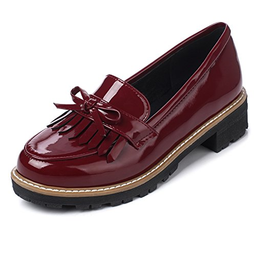 Burgundy Leather Loafers Shoes - Ifantasy Women's Penny Loafers Flat Low Heel Bow Tassel Patent Leather Slip On Shoes