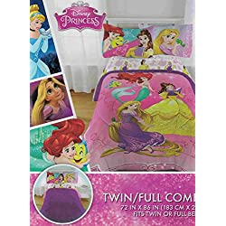 Disney Princess Bedazzling 6-Piece Full Comforter, Sheet Set and Night Light Bedding Collection, New 2016, Pink