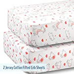 Fitted-Crib-Sheets-Set-2-Pack-100-Jersey-Knit-Cotton-with-Lovely-Animals-Prints-in-White-Gray-and-Coral-Perfect-Toddler-Gift