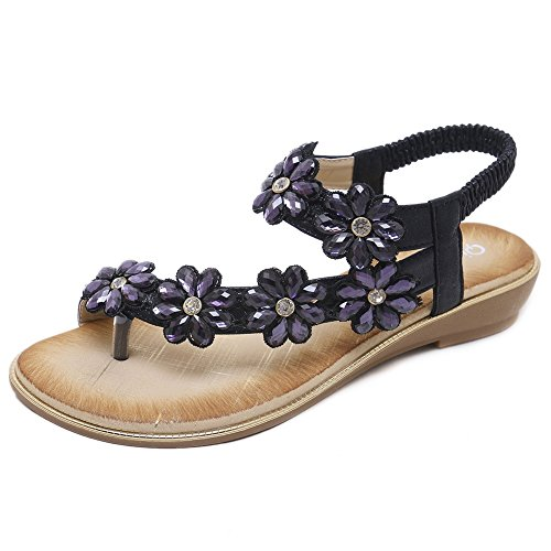 (Meehine Women's Elastic Sparkle Flip Flops Summer Beach Thong Flat Sandals Shoes(6 B(M) US,Black 02) )