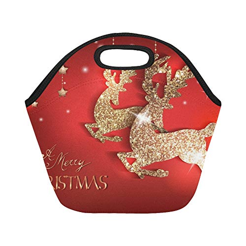 - Insulated Neoprene Lunch Bag Greeting Card Gold Shiny Deers Christmas Large Size Reusable Thermal Thick Lunch Tote Bags For Lunch Boxes For Outdoors,work, Office, School