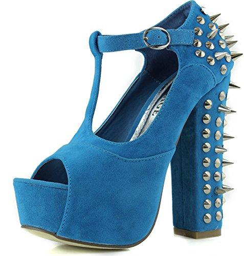 Women's Vintage Francheska-10 Blue Studs Spikes Peep Mary Jane Sandals Shoes, Blue, 6.5