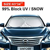 ANTOER SQ1 Car Sun Shade and Travel Pouch with 2 Ears Block Out 99% UV Rays Heat Keep Automobile Cool Easy to Use, Large