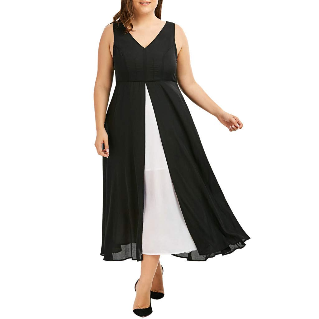 Thenxin Plus Size V-Neck Sleeveless Maxi Dress for Women Black White Patchwork Long Dress (Black,XXL)