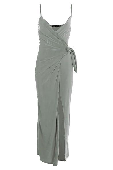 Boohoo Womens Petite Juliette Wrap Strappy Maxi Dress In Sage Size 0