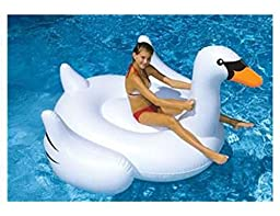 Swimline Large Jumbo Inflatable Giant Swan - Floatie Ride On Rideable Blow Up Summer Fun Pool Toy Lounger Floatie Raft for Kids & Adults - White, 75 Inches