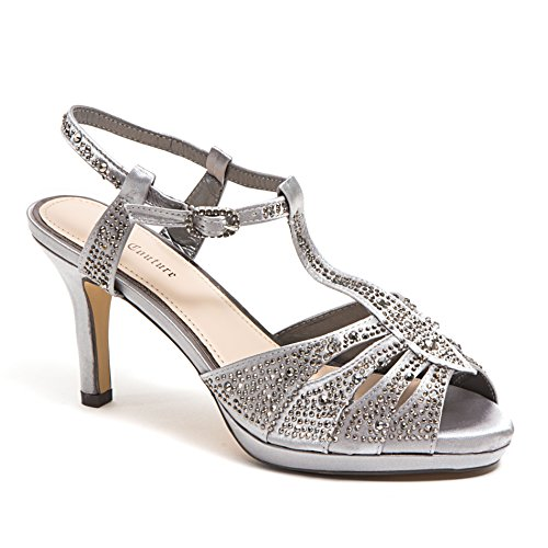 Dyeables Mid Heel Heels - Lady Couture Women's Wide Width Dressy Sandals with Rhinestone, Midnight(Wide Width) Pewter 38