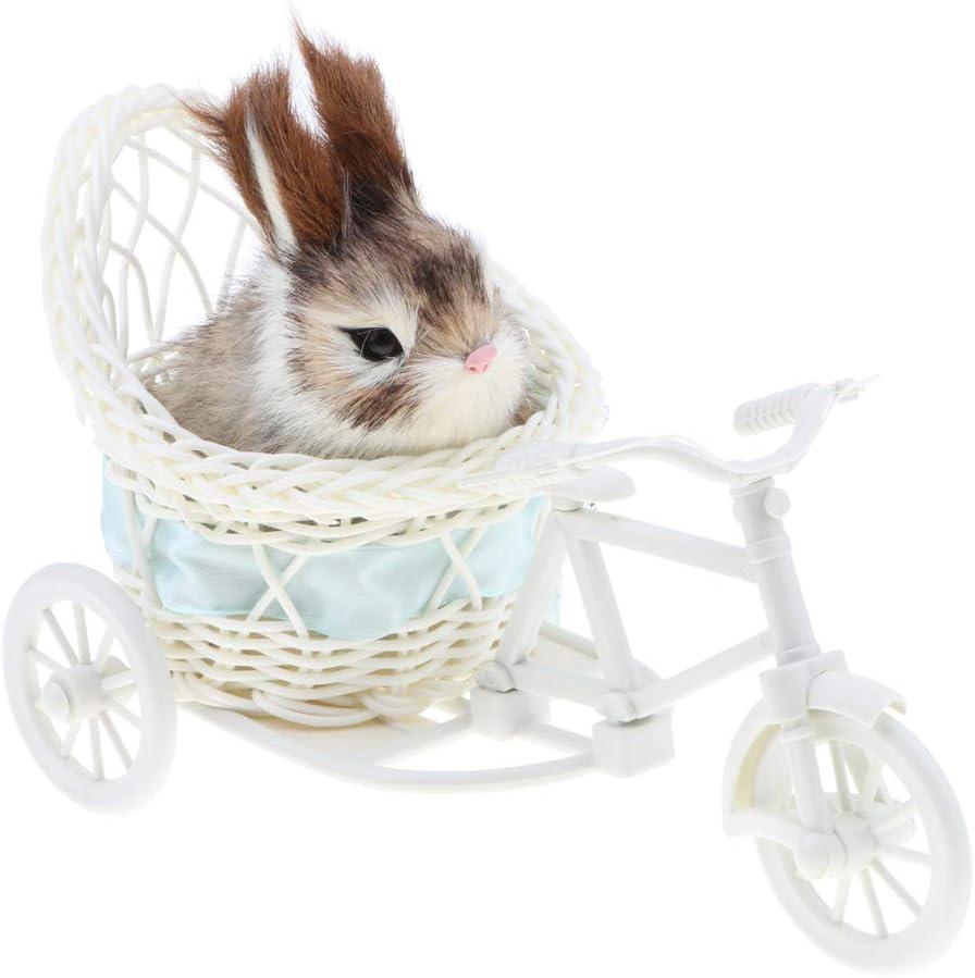D DOLITY Figura de Conejo/Perro de Simulación en Triciclo Juguete de Animales de Peluche Decoración Casera Escritorio - Conejo a