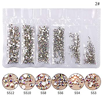 Amazon.com  1 Pack Flatback Glass Nail Rhinestones Mixed Sizes Nail Art  Decoration Stones Shiny Gems Manicure Accessories Tools Silver Bottom AB   Beauty 39943f961c91