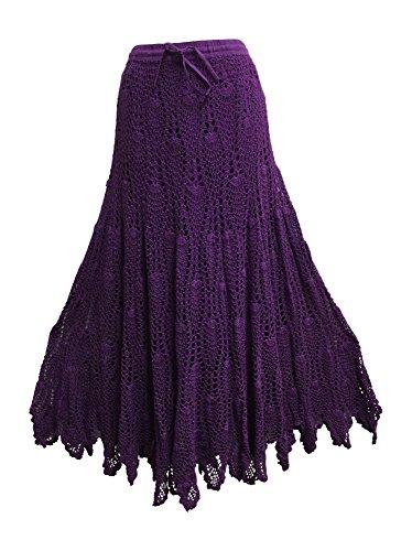 Missy Handwoven Crochet Indian Cotton Bohemian Trendy Fashion Long Skirt (Purple)
