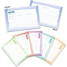 60-Pack Kitchen Recipe Cards - Double-Sided Recipe Note Cards with Watercolor Designs, 4 x 6 Inches