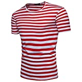 KASAAS T-Shirts for Men Stripes Crewneck Tops Short Sleeve Slim Fit Workout Fashion Tee Shirt Pullover Blouse(Small,Red)