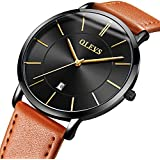 OLEVS Men's Ultra Thin Alloy Watches Quartz Analog Calendar Date Window Business Casual Slim Wristwatch Waterproof 30M 3ATM Black Dial Orange Genuine Cowhide Leather Band Simple Classic Gift YPF
