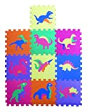 Dinosaur Zoo Educational Foam Puzzle Floor Mat for Kids + 10 Piece 12''x12'' Squares Blocks