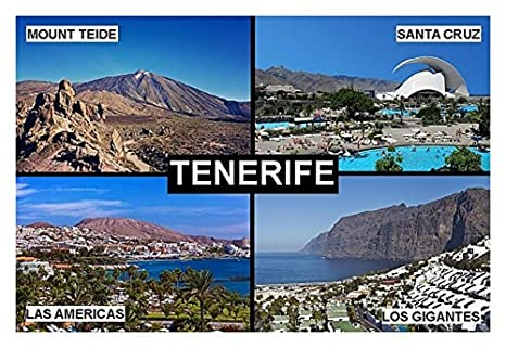 IMÁN PARA NEVERA - RECUERDO de TENERIFE CANARY ISLANDS SPAIN 9cm x 6cm Jumbo: Amazon.es: Hogar