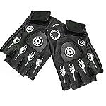 Mens Unisex Steampunk Gears Gothic Genuine Leather Half Finger Fingerless Gloves 7