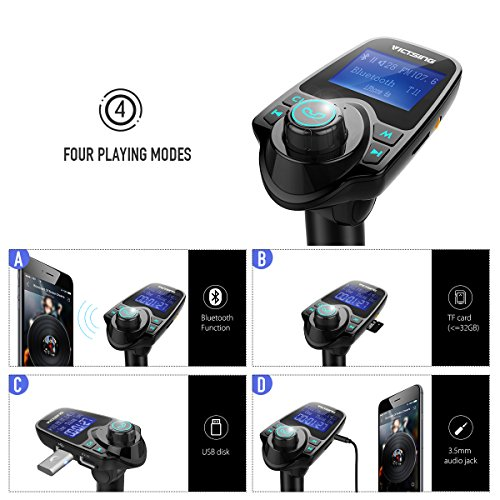 VicTsing Bluetooth FM Transmitter Radio Car Kit Adapter With 1.44 Inch Display 5V 2.1A USB Car Charger Support Micro SD Card and USB Flash Drive-Black by VicTsing (Image #5)
