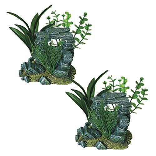 Arch Aquarium Ornament - Exotic Environments Rock Arch with Plants Aquarium Ornament, Small (2-Pack)