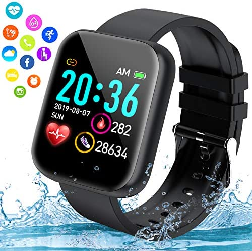 iFuntecky Smart Watch, Bluetooth Smartwatch for Android Phones, Ip67 Waterproof Fitness Watch with Blood Pressure Heart Rate Monitor with Pedometer Calorie Compatible for Samsung iOS Women Men