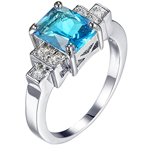 Square Aquamarine 3 Stone Ring - Women Platinum Plated Square Cut 3 Stones Aquamarine Blue CZ Ring Bridal Engagement Wedding Band 8