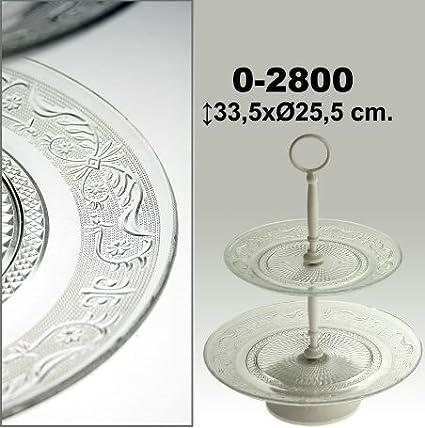 DonRegaloWeb - Frutero de metal y bandejas de cristal de 2 pisos en color blanco y