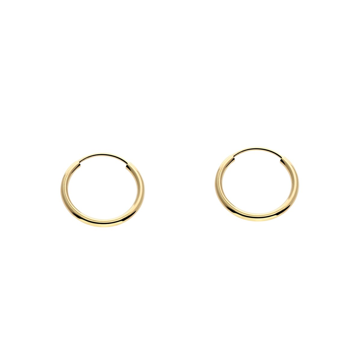 14k Yellow Gold Tiny and Small Endless Hoop Earrings 10mm by Art and Molly