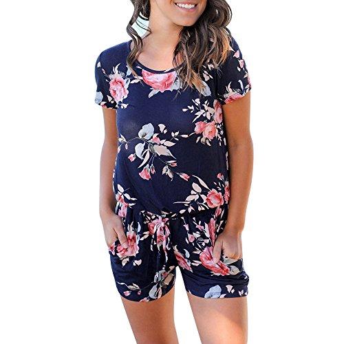 Jumpsuits for Women Floral Short Sleeve Pocket Beachwear Romper Jumpsuit Bodysuit (S, Navy) by Chanyuhui (Image #1)