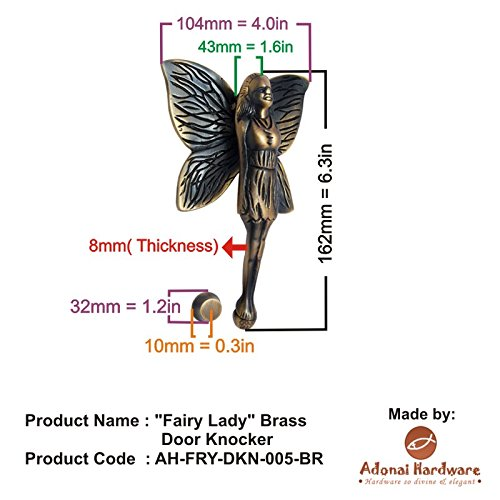 Adonai Hardware Fairy Lady Brass Door Knocker