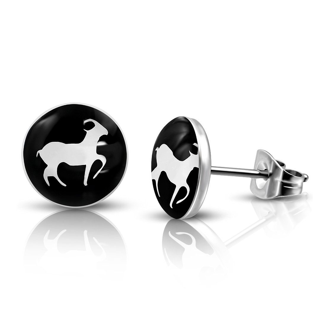 pair Stainless Steel 3 Color Sea-Goat Capricorn Zodiac Sign Circle Stud Earrings