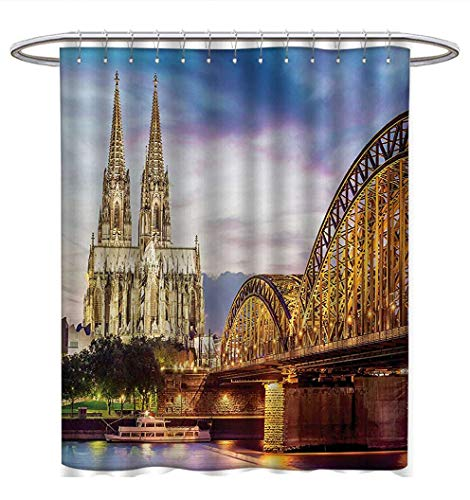 Anhuthree European Shower Curtains Mildew Resistant Illuminated Dom In Cologne Old Bridge Rhine Sunset Culture