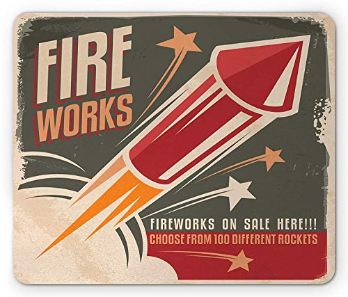 Vintage Mouse Pad, Retro Fireworks in Vintage Paper with Stars Rockets Western Halloween Illustration, Standard Size Rectangle Non-Slip Rubber Mousepad, Gray Red -