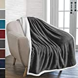 PAVILIA Premium Sherpa Throw Blanket for Couch Sofa | Super Soft, Cozy, Plush Microfiber Dark Gray Throw for Chair | Reversible Warm Flannel Fleece Solid Blanket (Charcoal, 50 x 60 Inches) PAVILIA