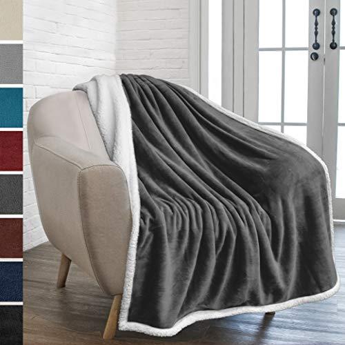 PAVILIA Premium Sherpa Fleece Throw Blanket   Soft, Plush, Fuzzy Dark Grey Throw   Reversible Warm Cozy Microfiber Solid Blanket for Couch Sofa (Charcoal, 50x60 Inches)