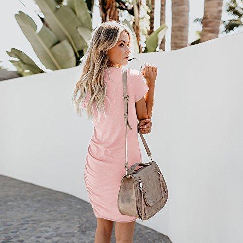 Women's Work Sleeve T Dress Casual Assivia Pencil Shirt Dresses Mini Pink Short Bodycon RAqxx1dw